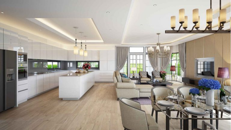 Pattaya Exclusive villa living and dining area with open concept kitchen